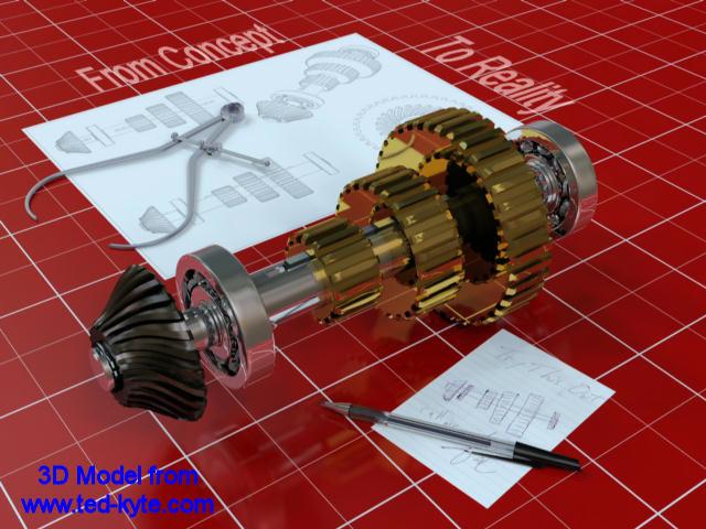 Gear Shaft Assembly Shaft Assembly 3d 30.00