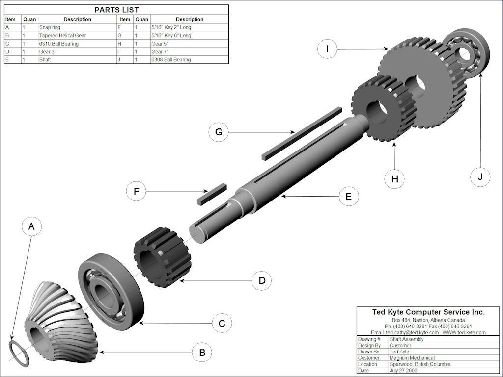 Gear Shaft Assembly Shaft Assembly Shaft Assembly